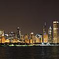 Beautiful Chicago Skyline With Fireworks by Adam Romanowicz