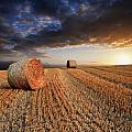 Beautiful Hay Bales Sunset Landscape Digital Painting by Matthew Gibson