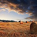 Beautiful Hay Bales Sunset Landscape Digital Paitning by Matthew Gibson