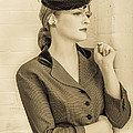 Beautiful woman in vintage forties clothing Print by Diane Diederich