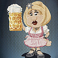Beer Stein Dirndl Oktoberfest Cartoon Woman Grunge Color by Frank Ramspott