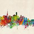 Beijing China Skyline Print by Michael Tompsett