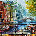 Bicycle In Amsterdam by Leonid Afremov