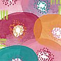 Big Garden Blooms- abstract florwer art Print by Linda Woods