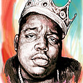 Biggie Smalls Colour Drawing Art Poster by Kim Wang