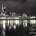 Black And White Image Of Nashville Tn Skyline  by Jeremy Holmes