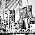 Black And White Picture Of Chicago At Lasalle Bridge by Paul Velgos
