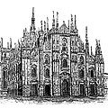 Black And White With Pen And Ink Drawing Of Milan Cathedral  by Mario Perez