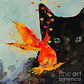 Black Cat And The Goldfish by Paul Lovering