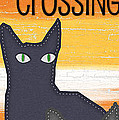 Black Cat Crossing by Linda Woods