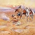 Black Feet Burning The Buffalo Range by Charles Russell