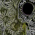 Black Sunflower Skull Print by Lovejoy Creations