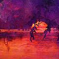 Bleeding Sunrise Abstract by J Larry Walker