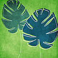 Blue And Green Palm Leaves by Linda Woods