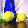 Blue Bottle And Lemons by Ben and Raisa Gertsberg