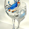 Blue Crab On Glass by Pauline Ross