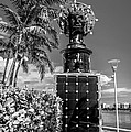 Blue Crown Statue Miami Downtown - Black And White by Ian Monk
