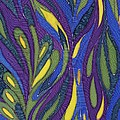 Blue Green Purple Abstract Silk Design by Sharon Freeman