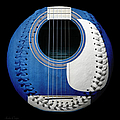 Blue Guitar Baseball White Laces Square Print by Andee Design