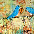 Bluebird Painting - Art Key To My Heart by Blenda Studio