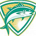 Bluefin Tuna Fish Jumping With Shield Retro by Aloysius Patrimonio