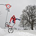 Bmx Flatland In The Snow - Monika Hinz Jumping by Matthias Hauser