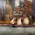 Boat - Governors Island NY - Lower Manhattan Print by Mike Savad