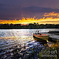 Boat On Lake At Sunset by Elena Elisseeva