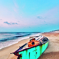 Boat Under Morning Moon Outer Banks I by Dan Carmichael