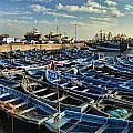 Boats In Essaouira Morocco Harbor by David Smith