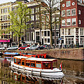 Boats On Canal In Amsterdam by Artur Bogacki