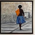 Bolivian Chola in Blue Skirt Print by Marcella Haugaard