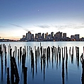 Boston Harbor Skyline with ICA Print by Juergen Roth