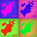 Boston Pop Art Map 1 by Naxart Studio
