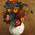 Bouquet Of Flowers In A White Vase by Odilon Redon