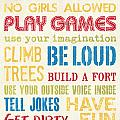 Boys Rules Print by Debbie DeWitt