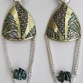 Brass Etching Green Teal Earrings by Brenda Berdnik