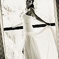 Bride At The Balcony. Black And White by Jenny Rainbow