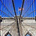 Brooklyn Bridge With American Flag by Nishanth Gopinathan