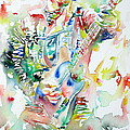 Bruce Springsteen Playing The Guitar Watercolor Portrait by Fabrizio Cassetta