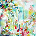 Bruce Springsteen Playing The Guitar Watercolor Portrait.1 by Fabrizio Cassetta