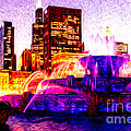 Buckingham Fountain at Night Digital Painting Print by Paul Velgos