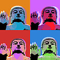 Buddha Pop Art - 4 Panels by Jean luc Comperat