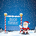 Buon Natale Sign Santa Claus Winter Landscape by Frank Ramspott