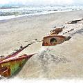 Buried Treasure - Shipwreck on the Outer Banks II Print by Dan Carmichael