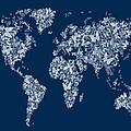 Butterflies Map of the World Map Print by Michael Tompsett