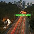 Ca 110 Pasadena Freeway Downtown Los Angeles At Night With Car Lights Streaking_2 by David Zanzinger