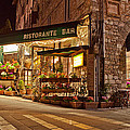 Cafe In Assisi At Night by Susan  Schmitz