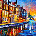 Canal In Amsterdam by Leonid Afremov