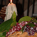 Candle And Grapes by Marcia Socolik